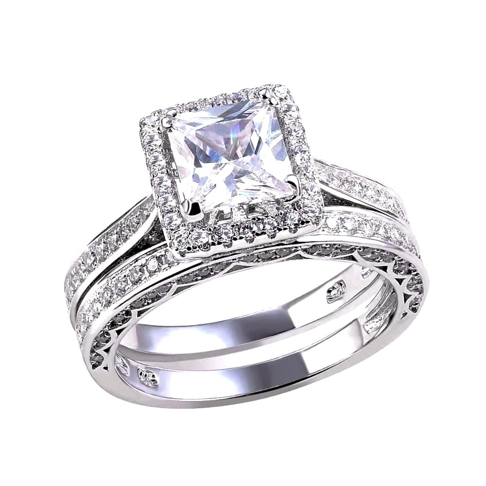 LUXURY Wedding Ring Set with Princess Cut 1.25 Carat AAA Cubic Zircon 925 Sterling Silver