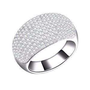 Luxury Wedding Ring with AAA Austrian Cubic Zircon Pave Setting Platinum Plated - Nickel Free, Anti-Allergy