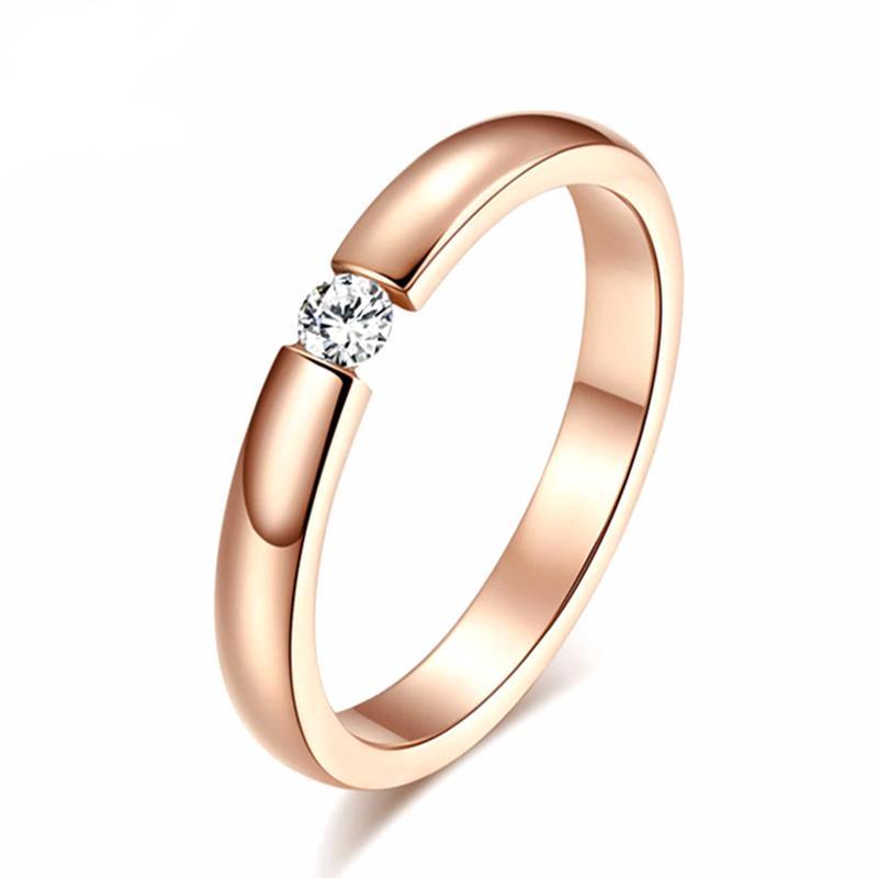Wedding Band with Geometric Cut AAA Austrian Cubic Zircon Rose Gold Color Stainless Steel - Nickel Free, Anti-Allergy