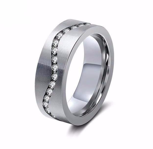 Wedding Band With AAA Austrian Cubic Zircon and Stainless Steel - For Men and Women
