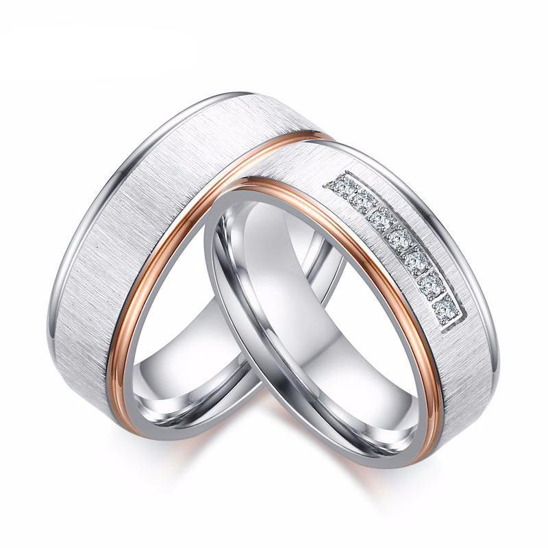 Wedding Rings Set with AAA Cubic Zircon and Matte Finish Stainless Steel With Rose Gold Plating - For Men & Women