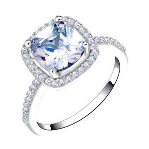 LUXURY Wedding Ring with Cushion Cut 2 Carat AAA Austrian Cubic Zircon - Nickel Free, Anti-Allergy