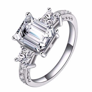 Engagement Ring with Heart & Arrow Cut AAA Cubic Zircon S925 Silver Plated Vintage