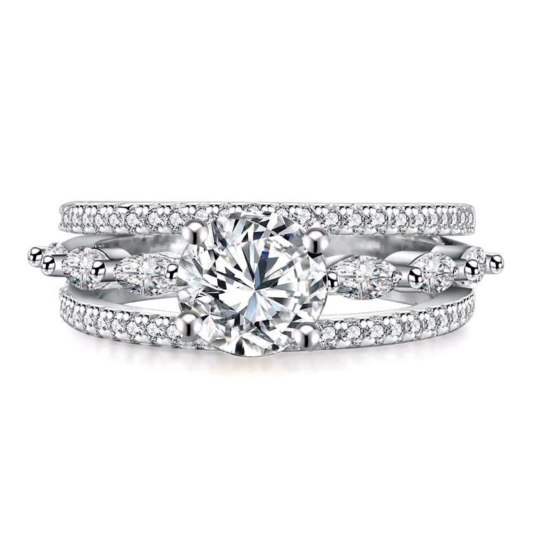 Wedding Ring Set With Round Cut AAA+ Cubic Zircon S925 Silver Plated - Nickel Free, Anti-Allergy