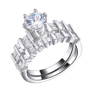 Luxury Wedding Ring Set with Round Cut 1.3 Carat Austrian Cubic Zircon - Nickel Free, Anti-Allergy