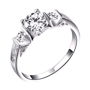 Engagement with Round Cut AAA Austrian Cubic Zircon - Nickel Free, Anti-Allergy