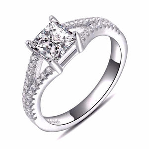Wedding Ring Set With Princess Cut 0.8 Carat AAA Austrian Cubic - Nickel Free, Anti-Allergy