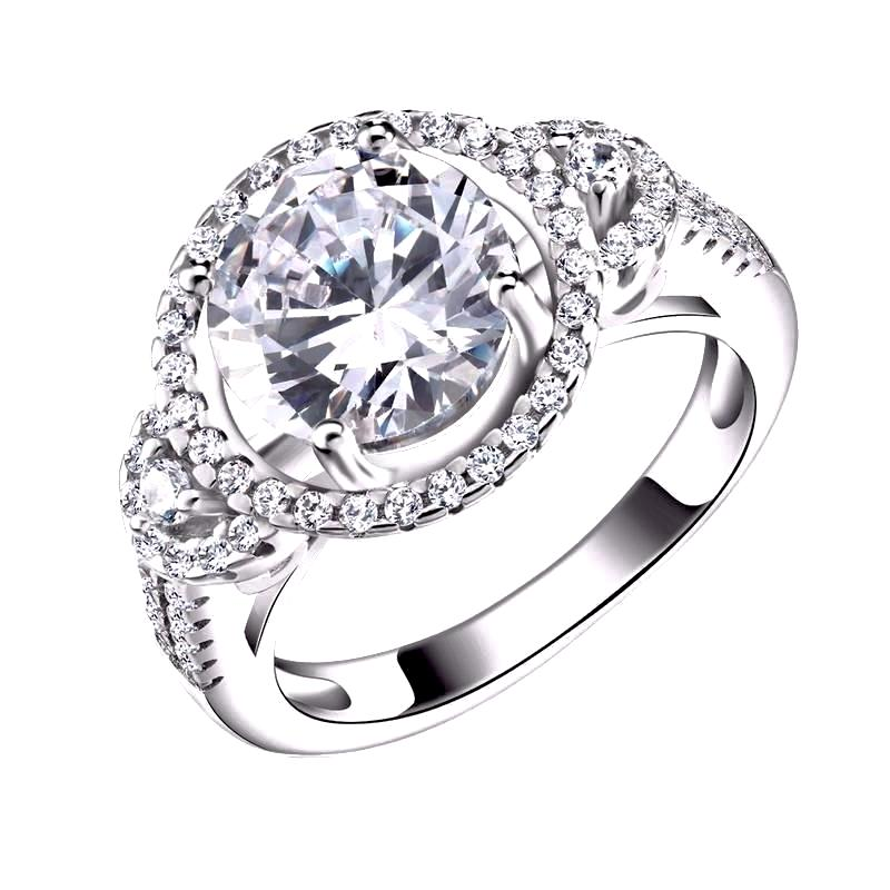 LUXURY Wedding Ring Halo with 2.5 Carat AAA Austrian Cubic Zircon - Nickel Free, Anti-Allergy