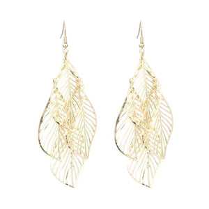 Cut-Out Leaf Multilayer Drop Earrings - Silver Plated or Gold Color