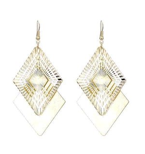 Chic Frosted Geometric Drop Earrings - Gold Color or Silver Plated