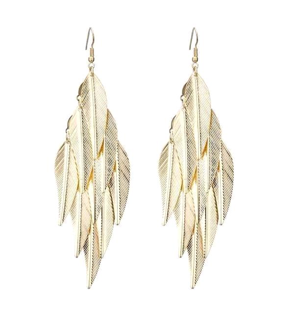 Vintage Leaf Shape Multi-layered Drop Earrings - Gold Color or Silver Plated
