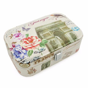 Faux Leather Rectangle Travel Jewelry Case with Metal Closure - Mirror Inside, Six Euro Designs