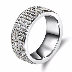 Wedding Band 5 Rows of Crystals Set Into Stainless Steel