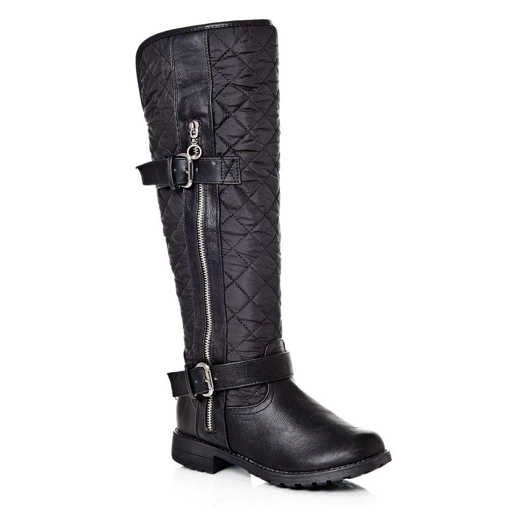 Knee-High Low Heel Cleated Sole Quilted Biker Style Boot