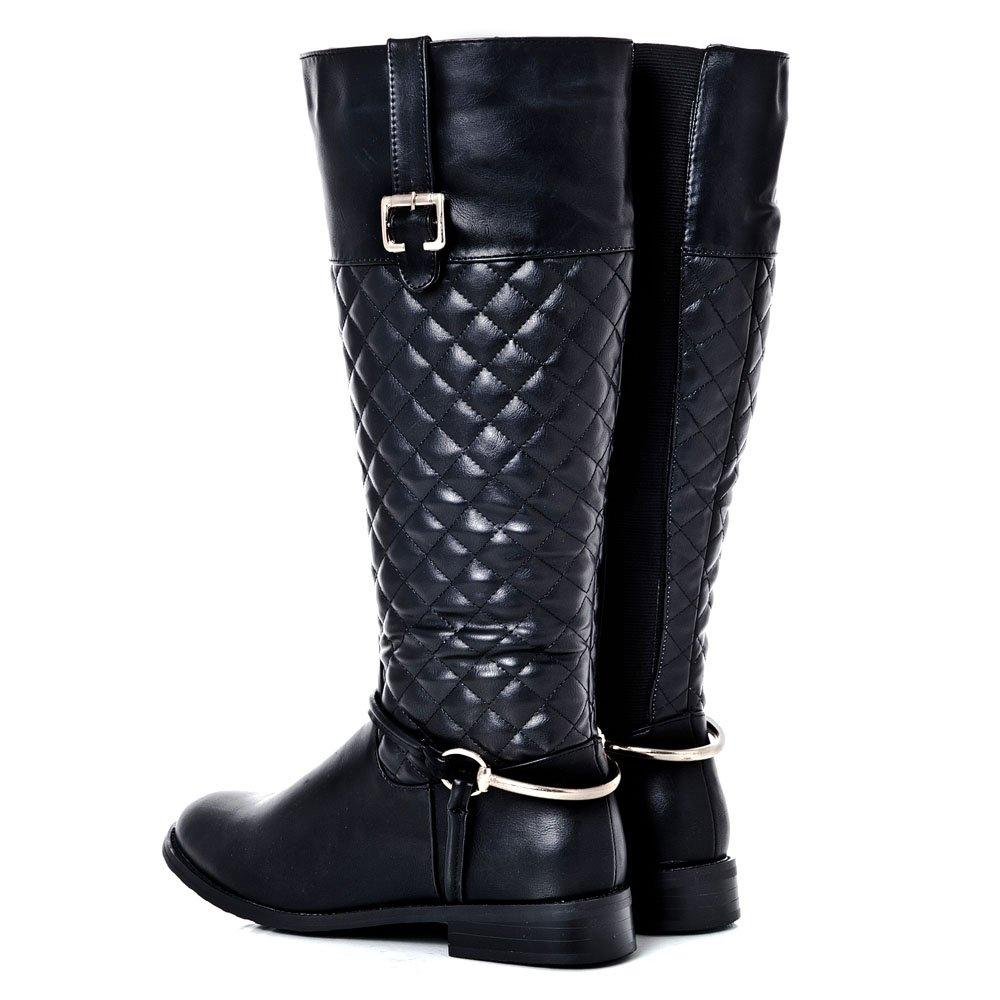 Low Heel Knee-High Quilted Riding Boot