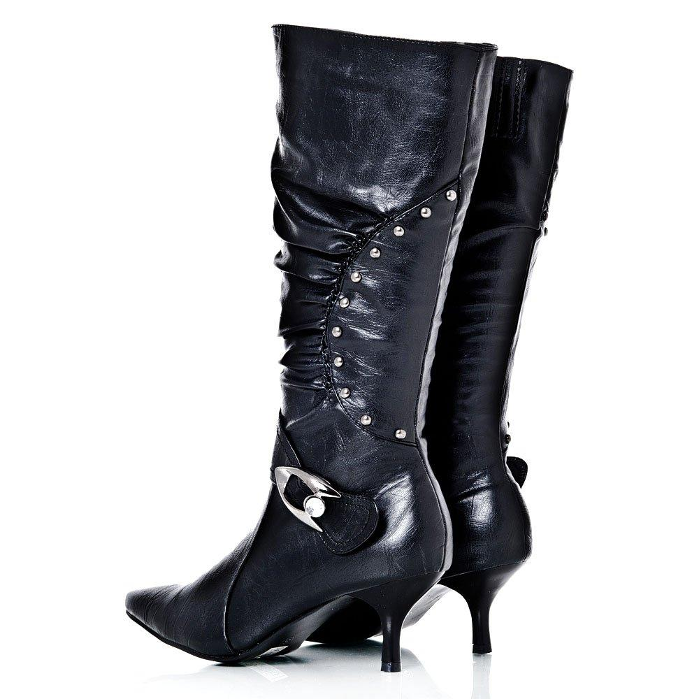 Pointed Toe Kitten Heel Calf length Boot Diamante detail