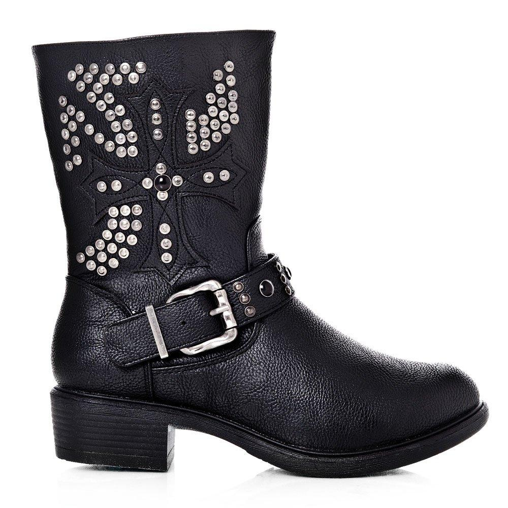Pointy Toe Low Cuban Heeled Studded Calf Boot With An Ankle Strap buckle