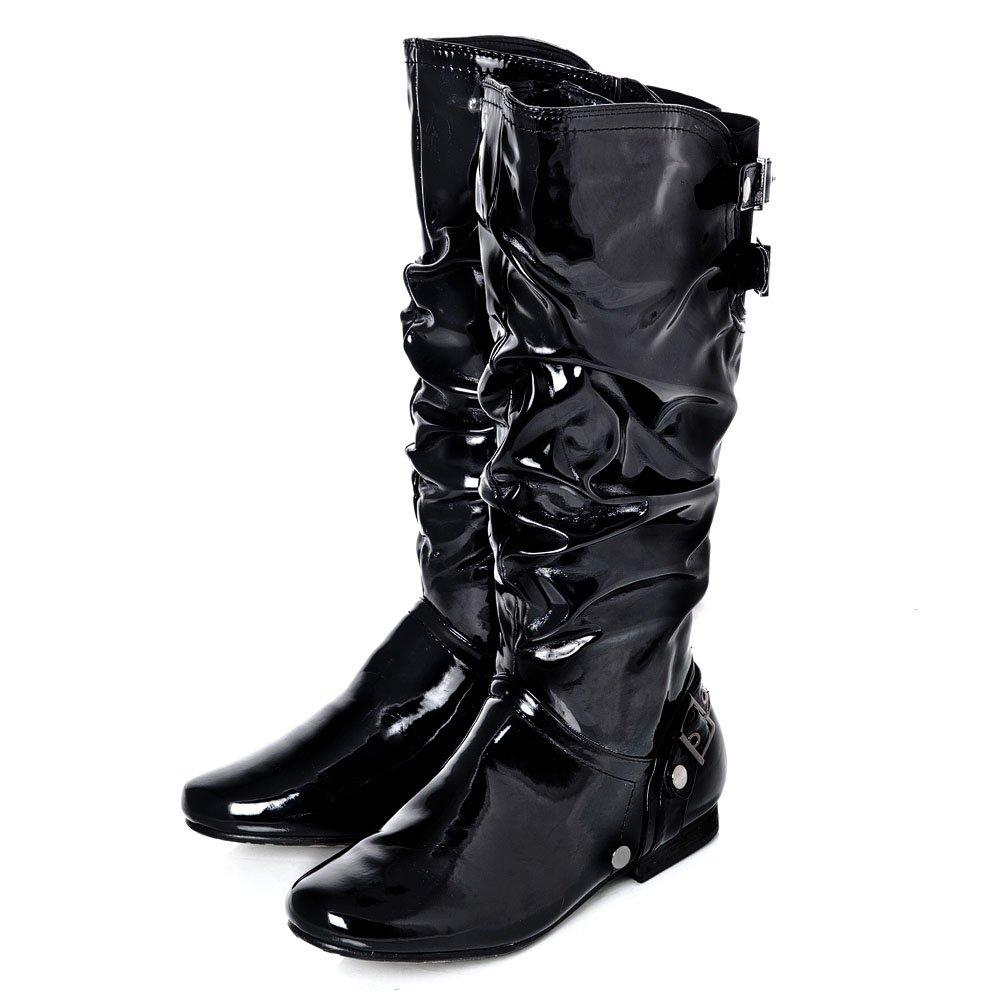 Flat Ruched Knee-High Full Zip  Boot