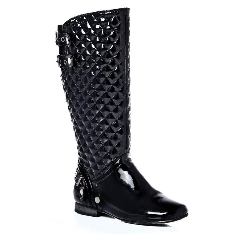 ada98ef9b44 Knee-High Low Blocked Heel Quilted Riding Boot With Full Zip