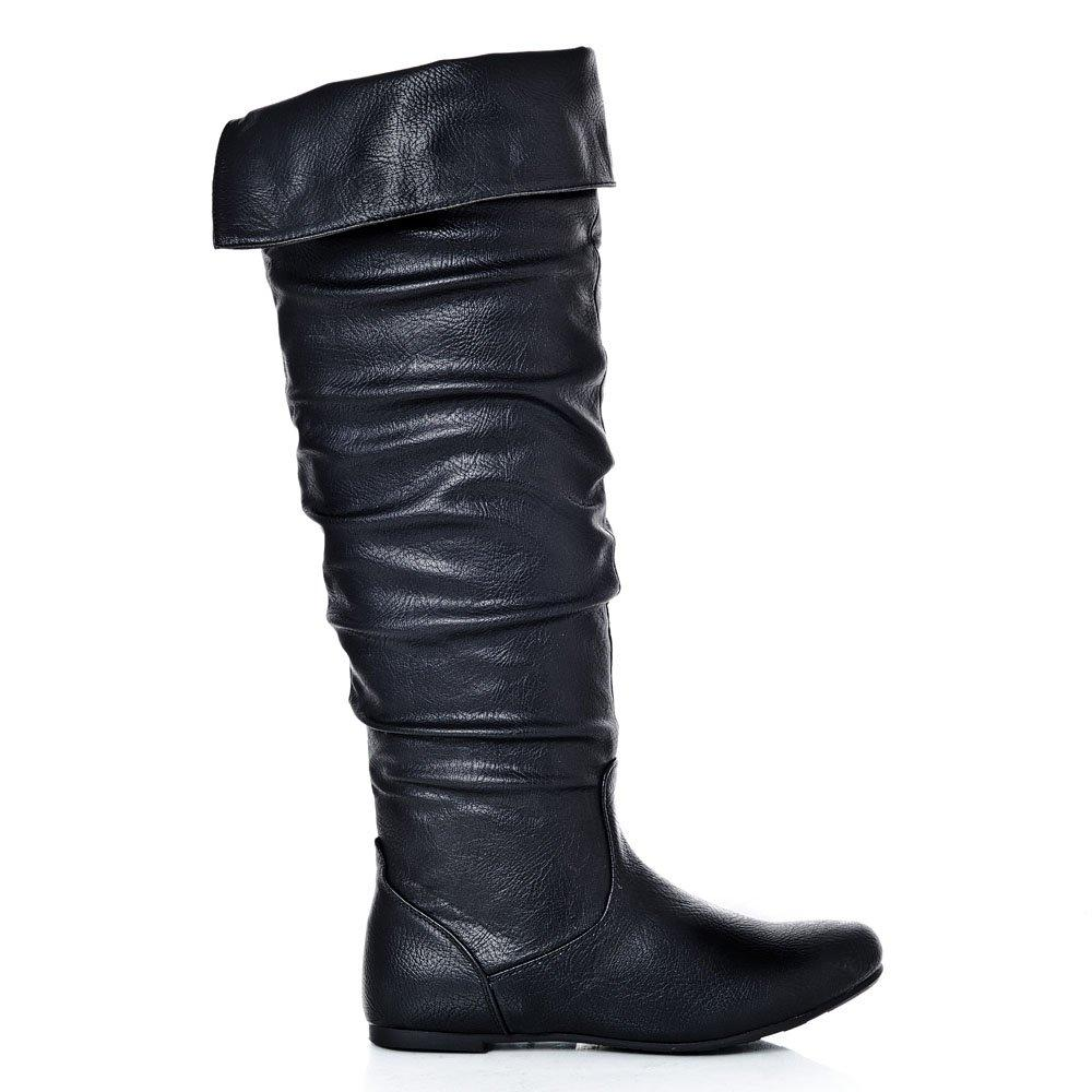 Flat Over-Knee Pull On Ruched Boots