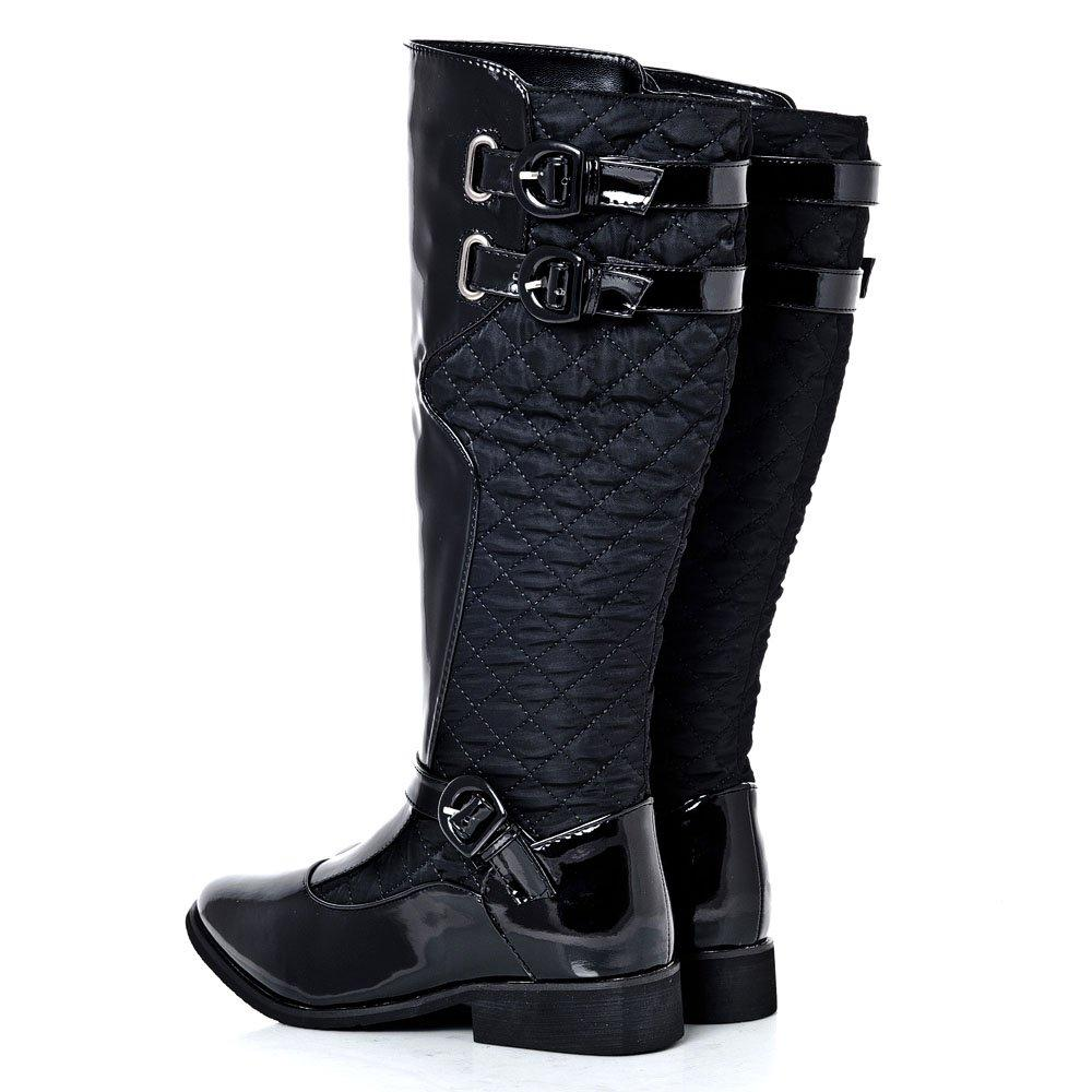 Low Cuban Heeled Quilted Knee Boot With Ankle Strap Buckle