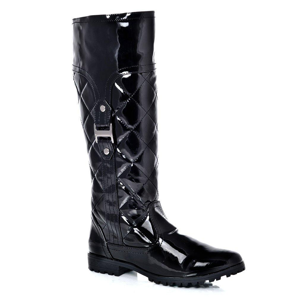 Knee-High Low Blocked Heel Cleated Sole Quilted Riding Boot