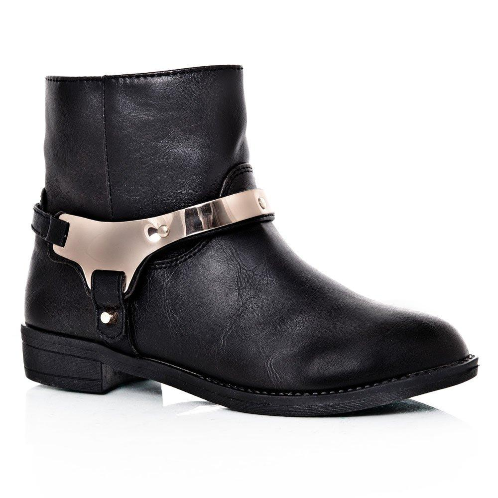 Low Heeled Ankle Boot With Ankle Metal Detailing