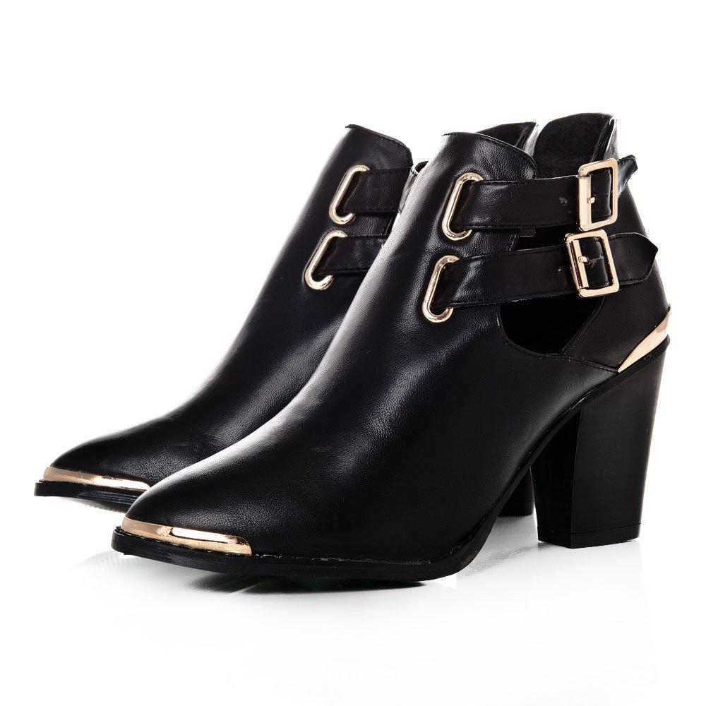 Medium Block Heeled Cut-Out Ankle Boots With Gold Tone Trim