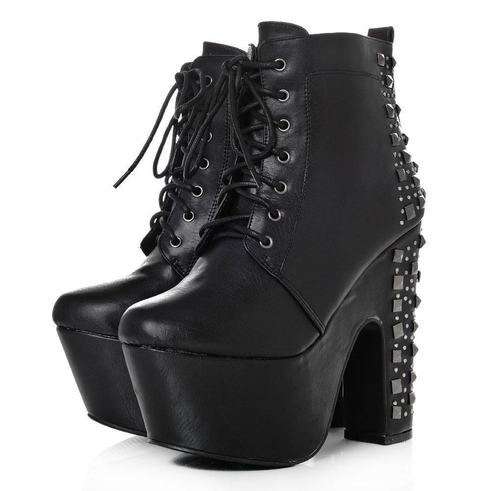 Platform Block High Heel Lace Up Ankle Shoe Boot
