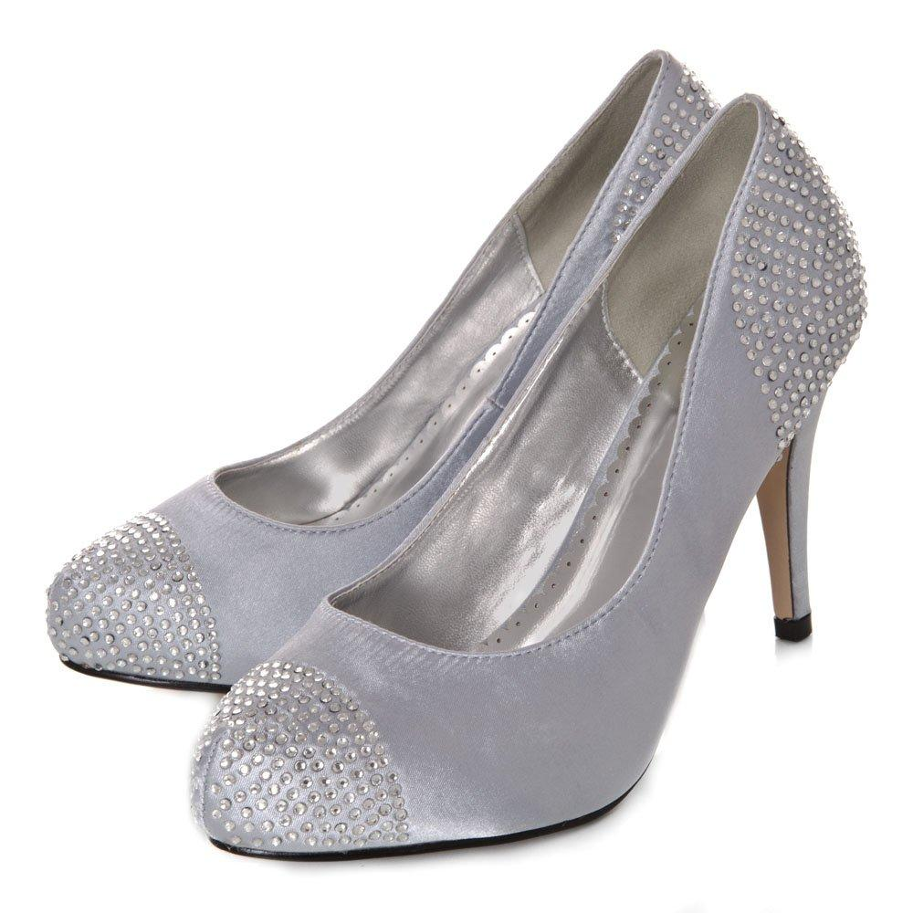 High Heeled Concealed Platform Court shoe Diamante on Toe Cap And Back Heel