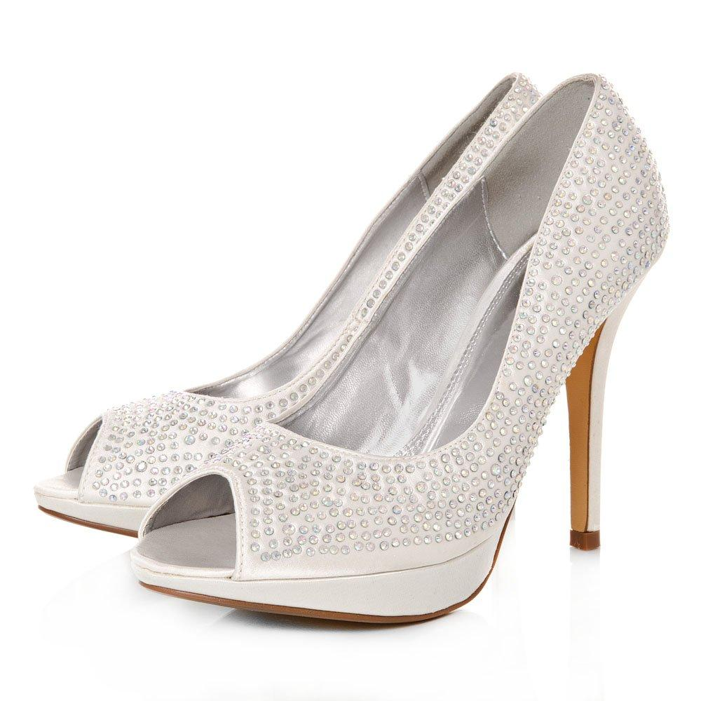 Peep Toe Stiletto High Heeled Diamante Court Shoes