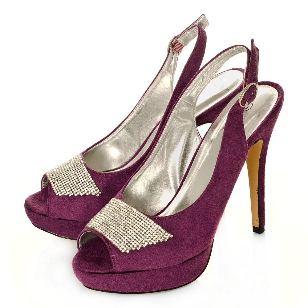 Stiletto Heel Platform Slingback With Thick Diamante Strap Across The Toe