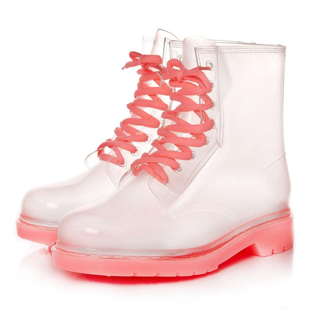 Round Toe Low Heeled Lace Up Transparent Clear Jelly Ankle Boot