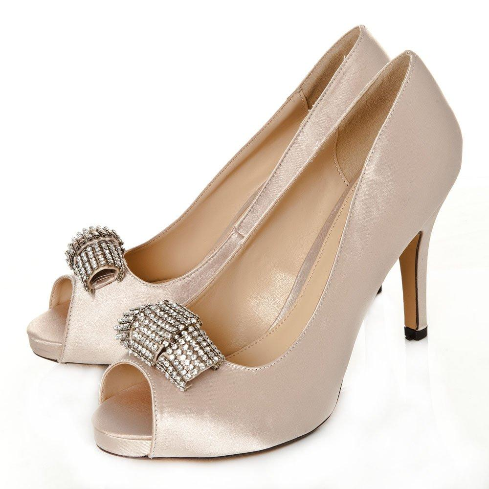 Peep Toe High Heel Hidden Platform Diamante Court Shoe