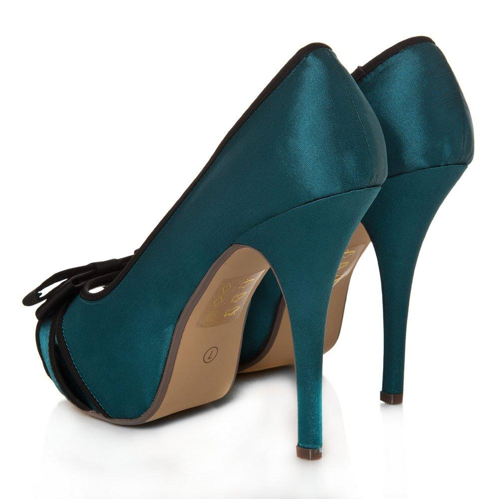 Peep Toe Concealed Platform High Heel Satin Court Shoe With A Bow
