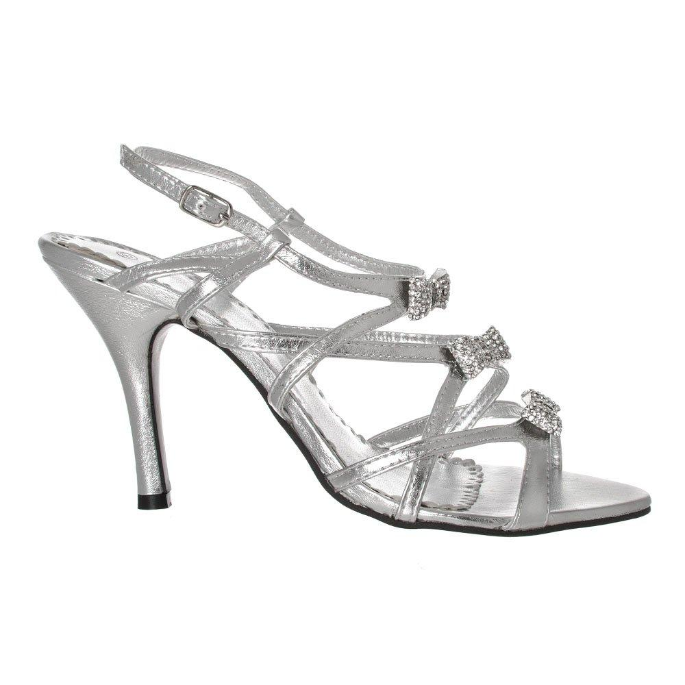 Strappy Peep Toe High Heeled Sandals With Diamante Flowers