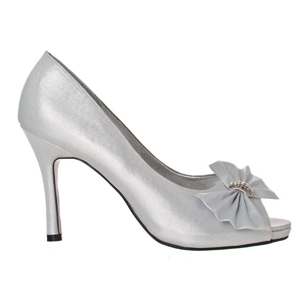 Peep Toe High Heel Diamante Court Shoe With A Satin Bow