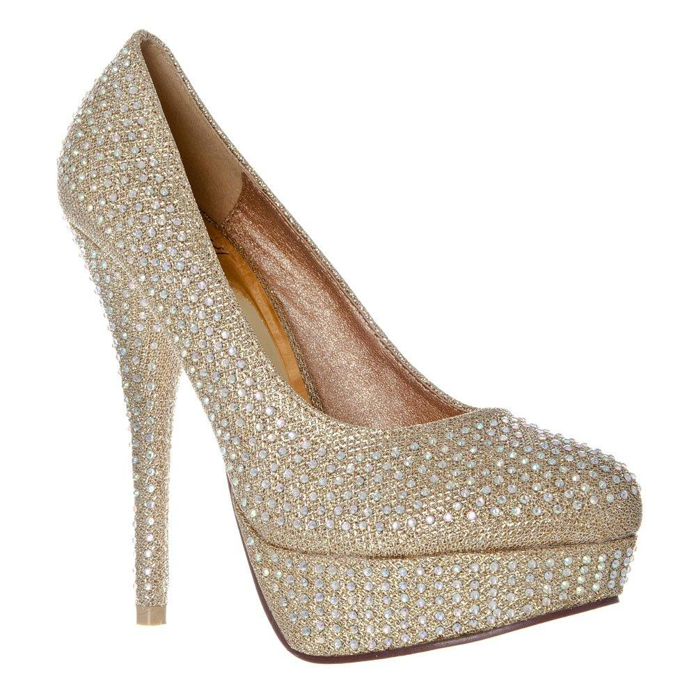 Round Toe High Heel Concealed Platform Court Shoe