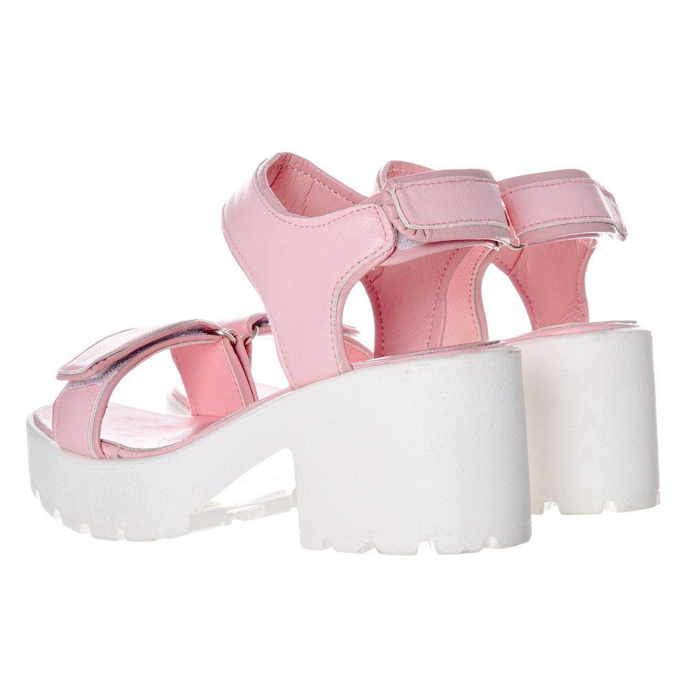 Mid Heel Velcro Strap Across Toe Cleated Sole Sandals