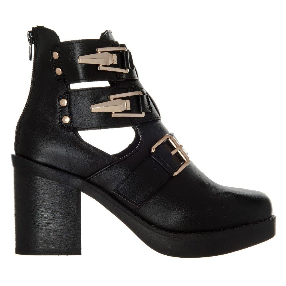 Blocked Heel Platform Shoe Boot With 3 Buckles And Back Zip