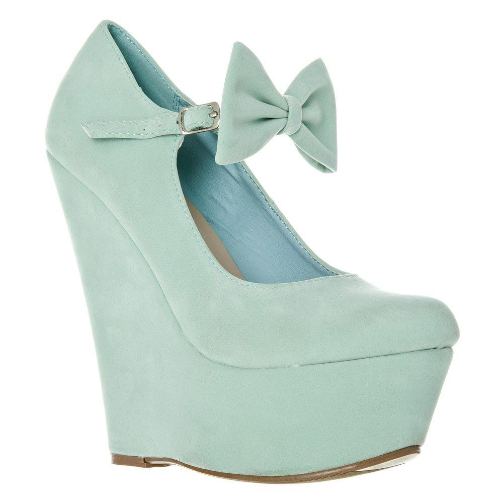 High Platform Wedge Soft Curved Toe Bow Trim Strap