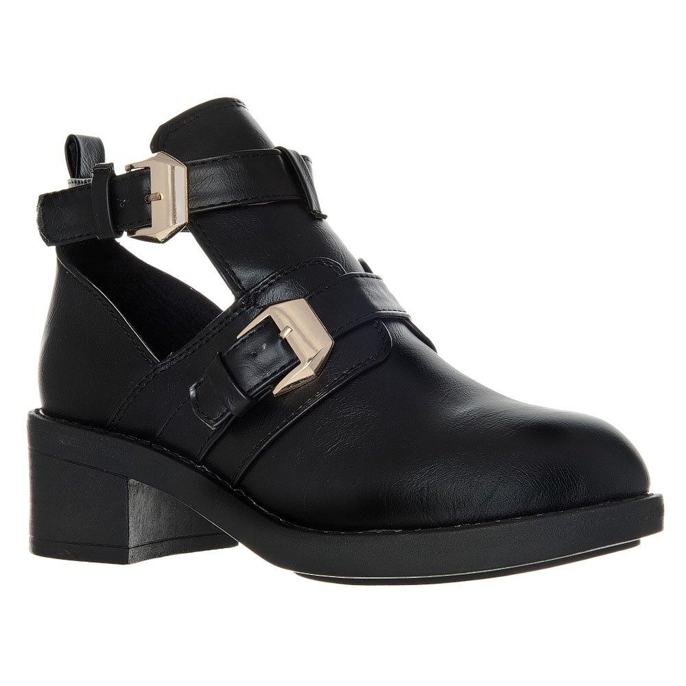 Round Toe Low Block Heel Cut-Out Ankle Boot With Buckle Fastening