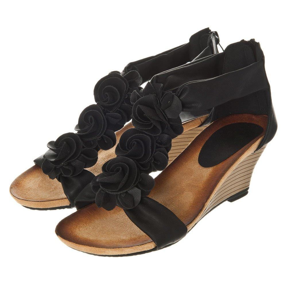 Mid Heel T-Bar Wedge With Three Flowers