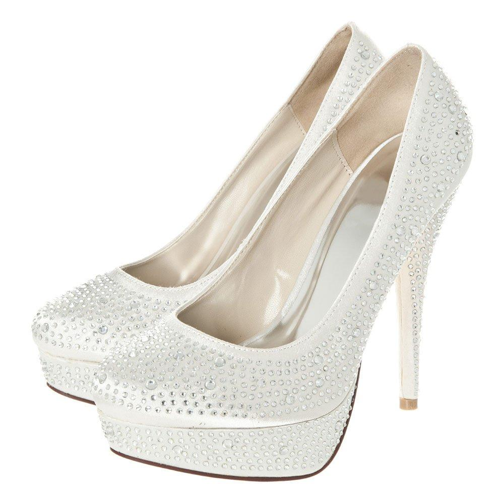 High Heel Platform Diamanté Satin Court Shoe