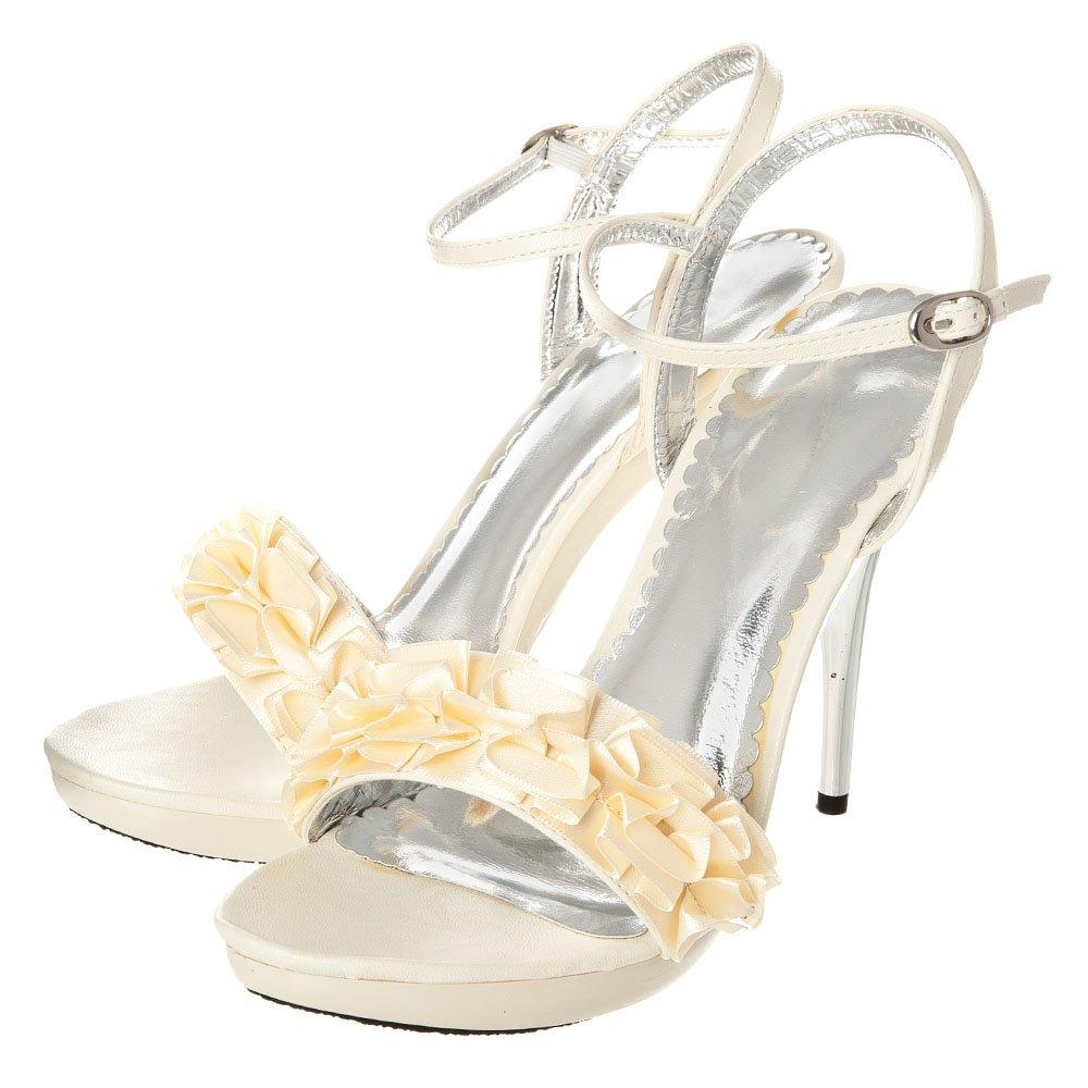 High Heel Ankle Strap Ruffle Sandal