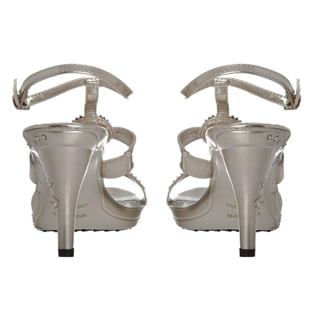 High Heel Open Toe Sandal with Two Diamante Straps
