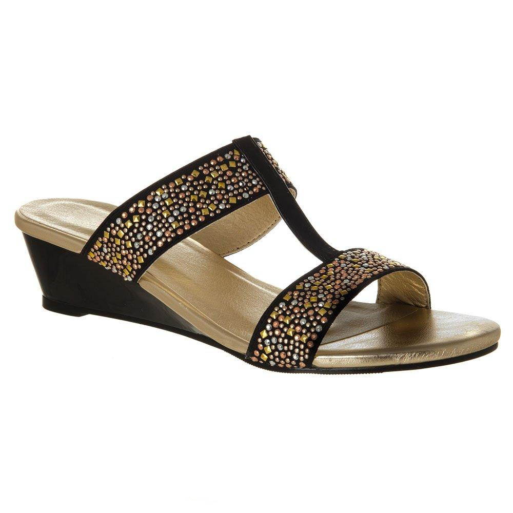 Low Wedge heel Sandal with T-Bar