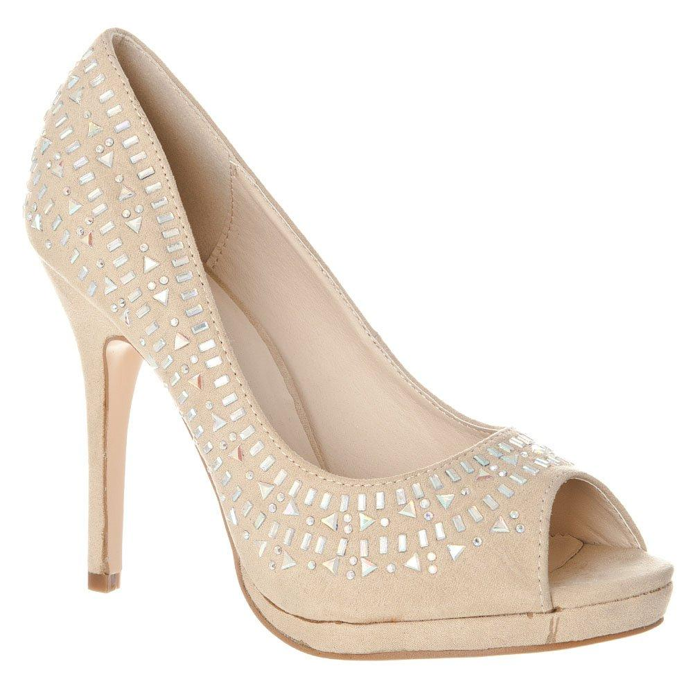 High Heel Platform Open Toe Jeweled Shoe
