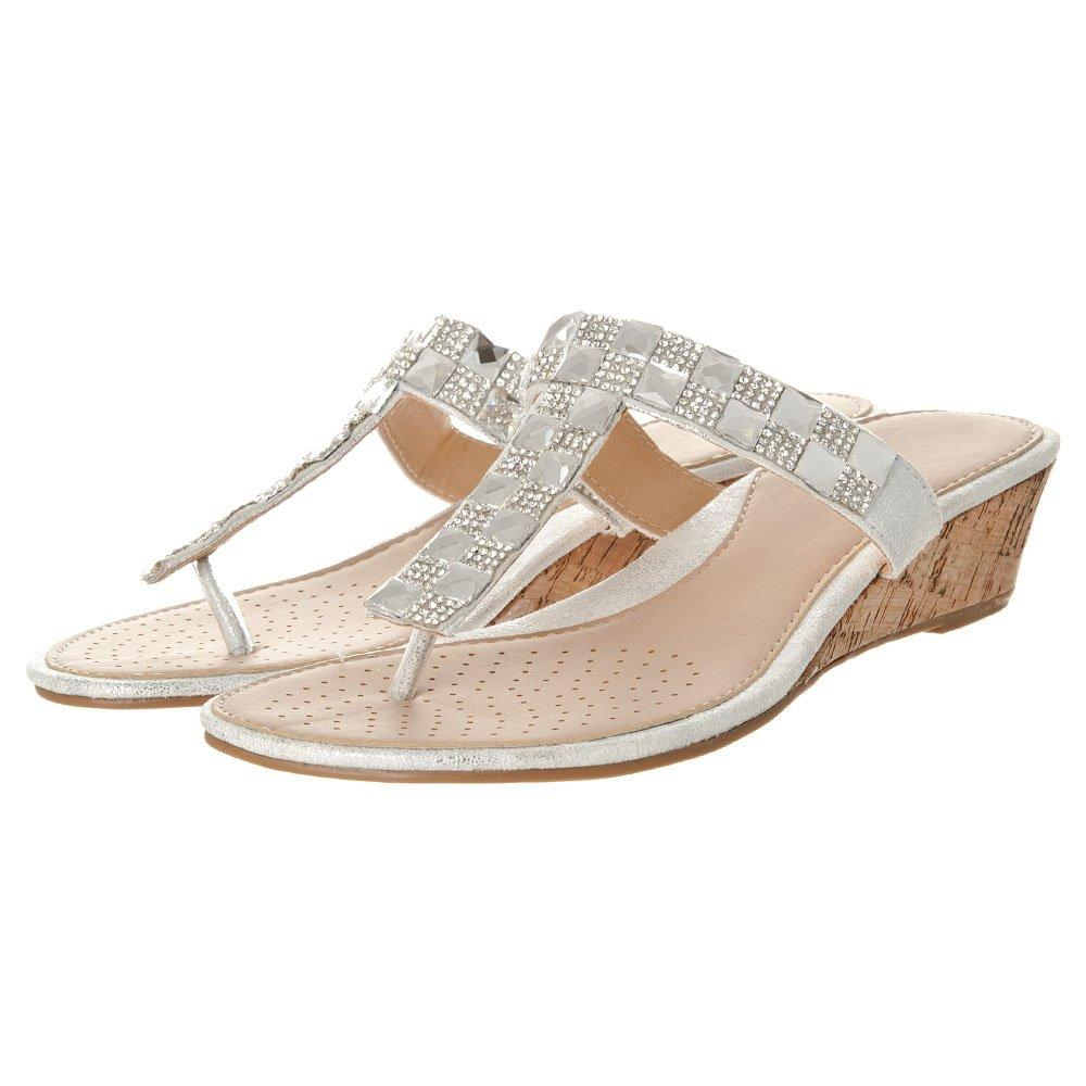 Low Heel T-Bar Square Diamante Wedge