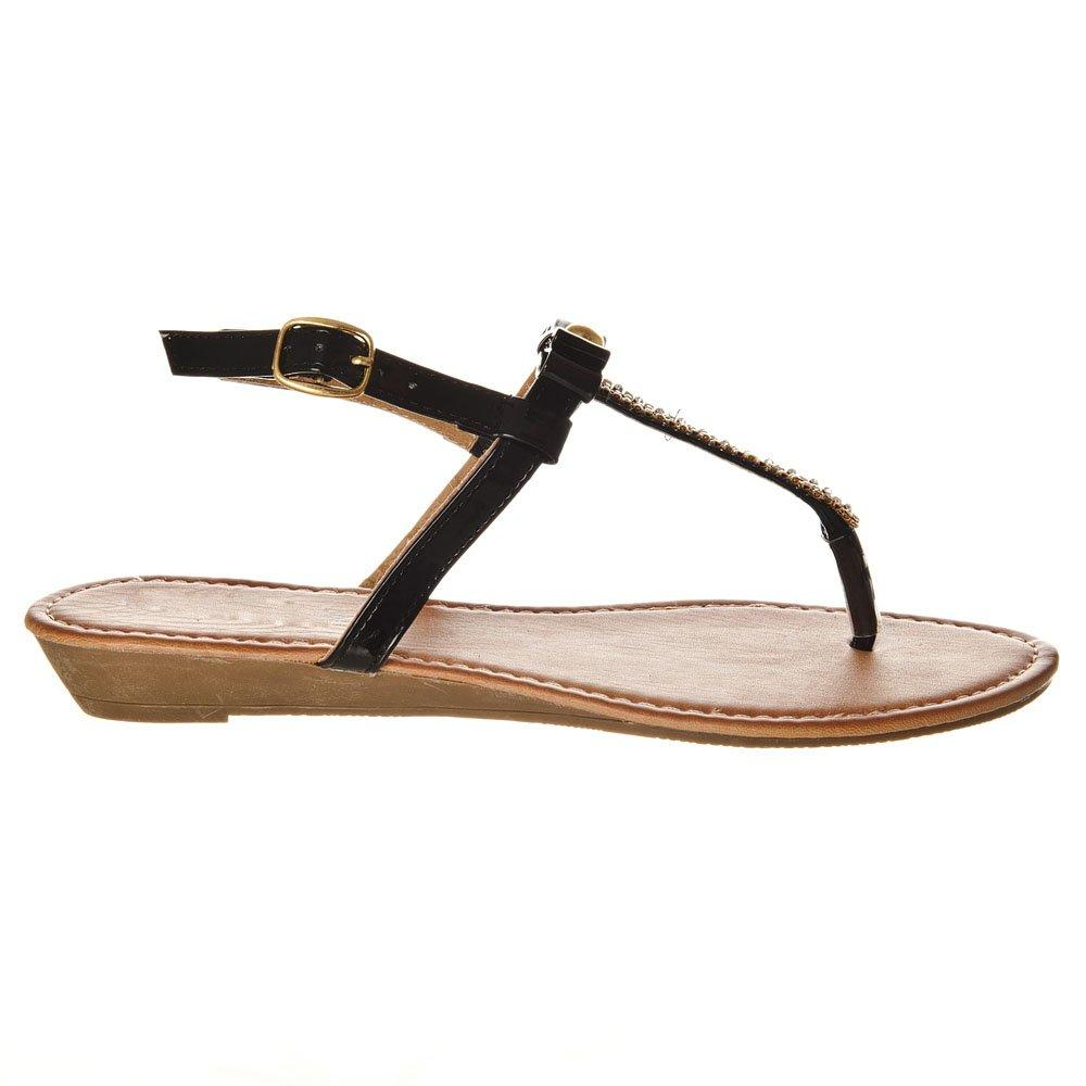 Low Wedge Ankle Strap T-Bar Toe Post Sandal